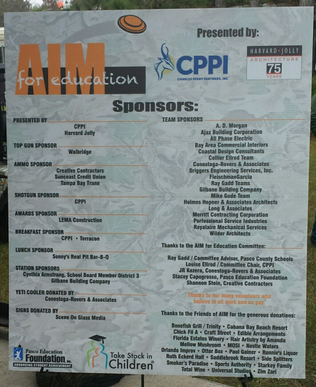 LEMA Construction recognized as one of the proud sponsors of Pasco County AIM for Education