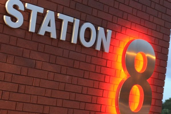 Fires Station 8 Sign at Night