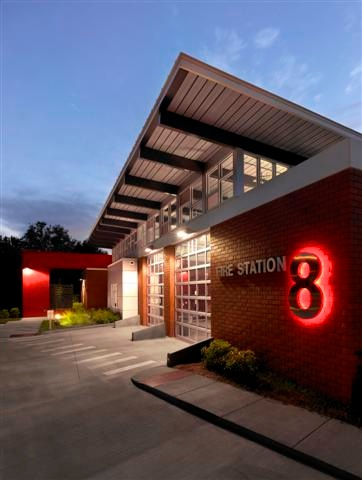 Fire Station 8 Exterior at Night